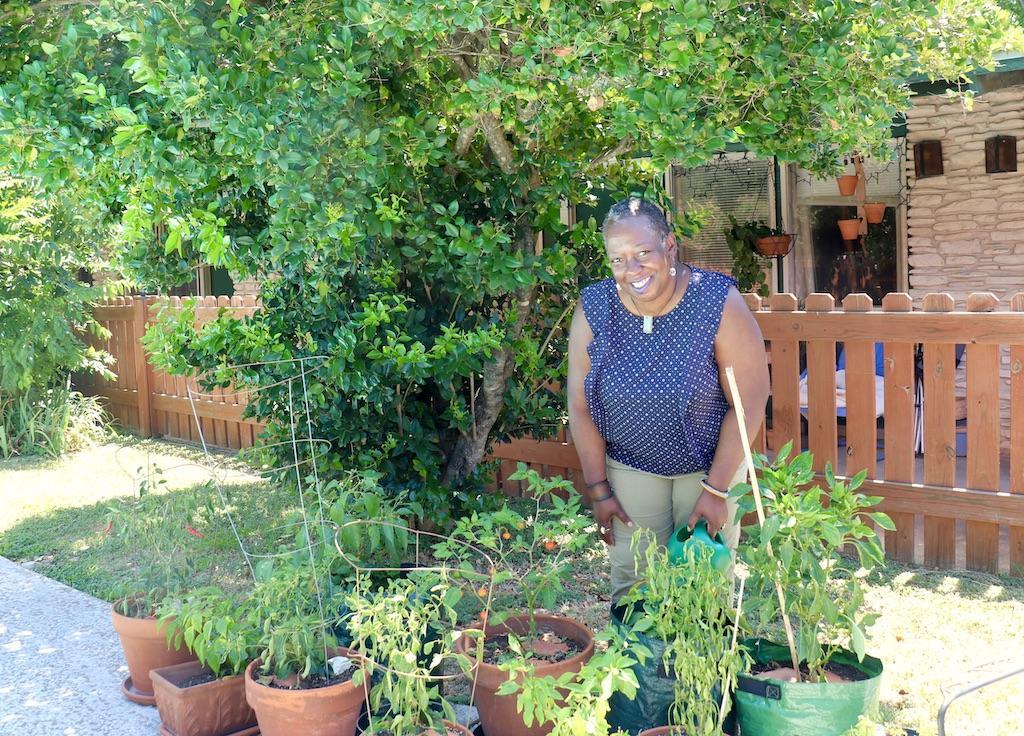 Lisa Gentry in her pepper garden.
