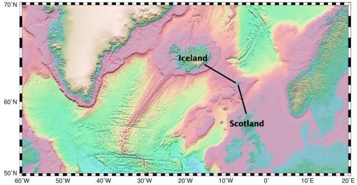 Seafloor bathymetry map shows the undersea ridges found between Iceland and Scotland. The ridges intersect at the Faroe Islands, in green. Credit: Scripps Institution of Oceanography caption